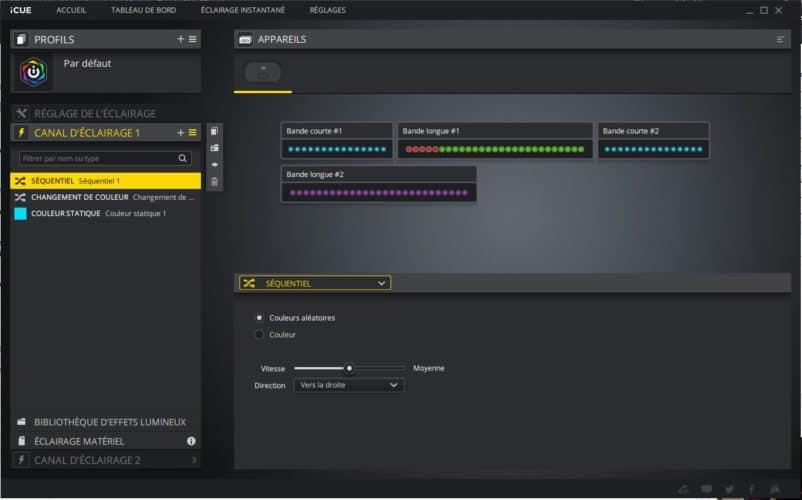 Le logiciel de réglage iCUE par Corsair