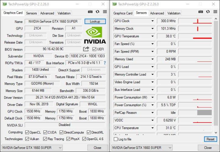 GPUZ de la KFA2 GTX 1660 Super EX