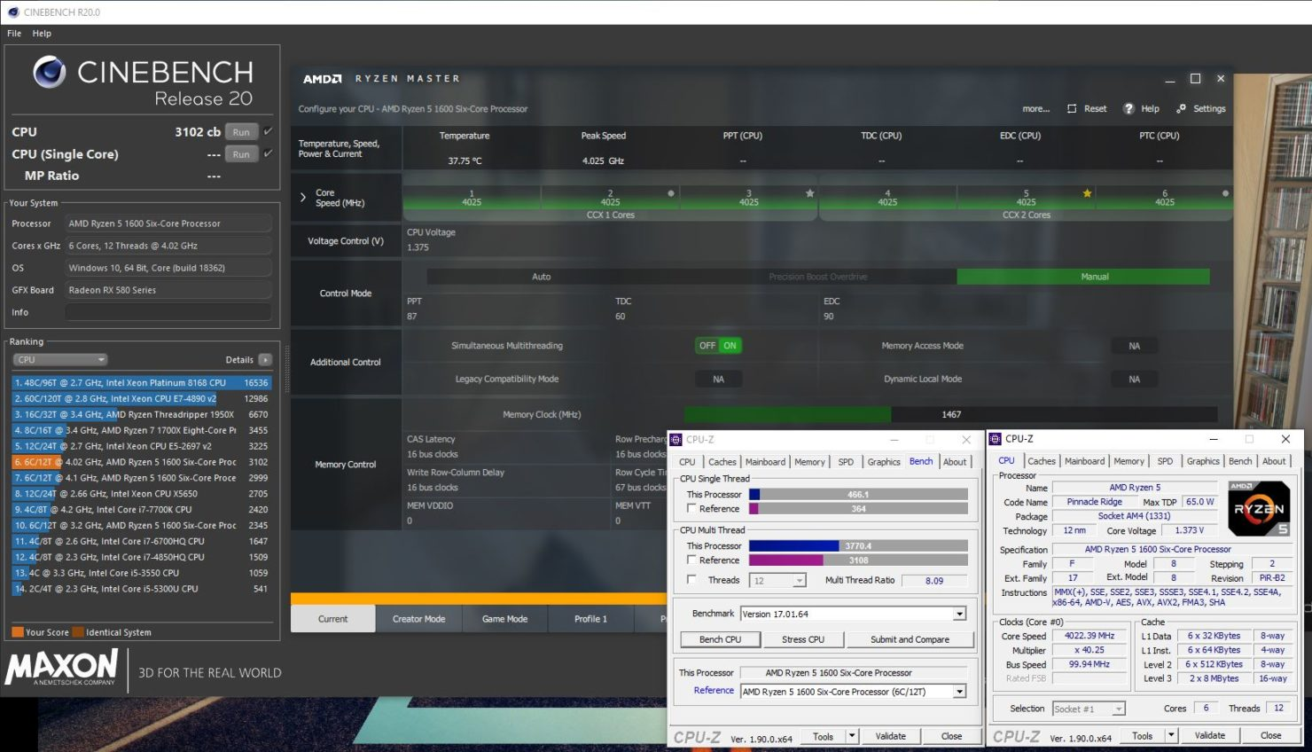 AMD Ryzen 1600 Zen +