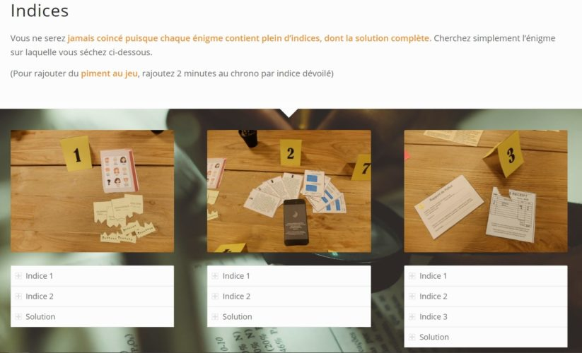 Escape Kit - Madame Duroy - Page internet indices et solutions