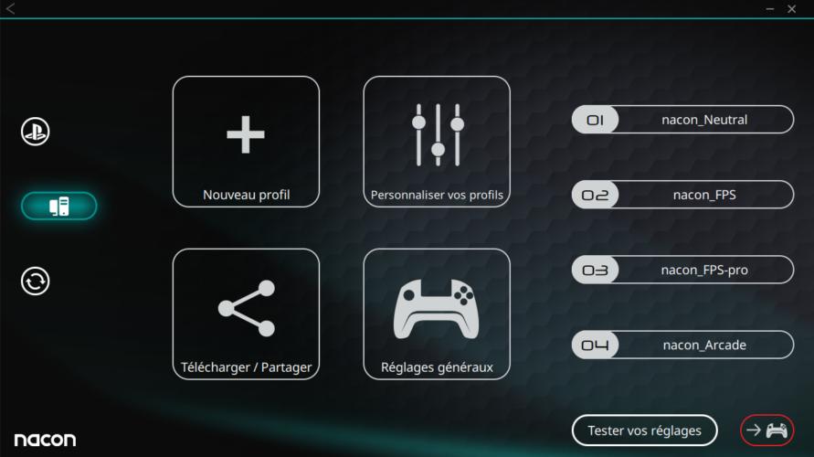 Revolution Pro Controller 3 logiciel menu pc test vonguru