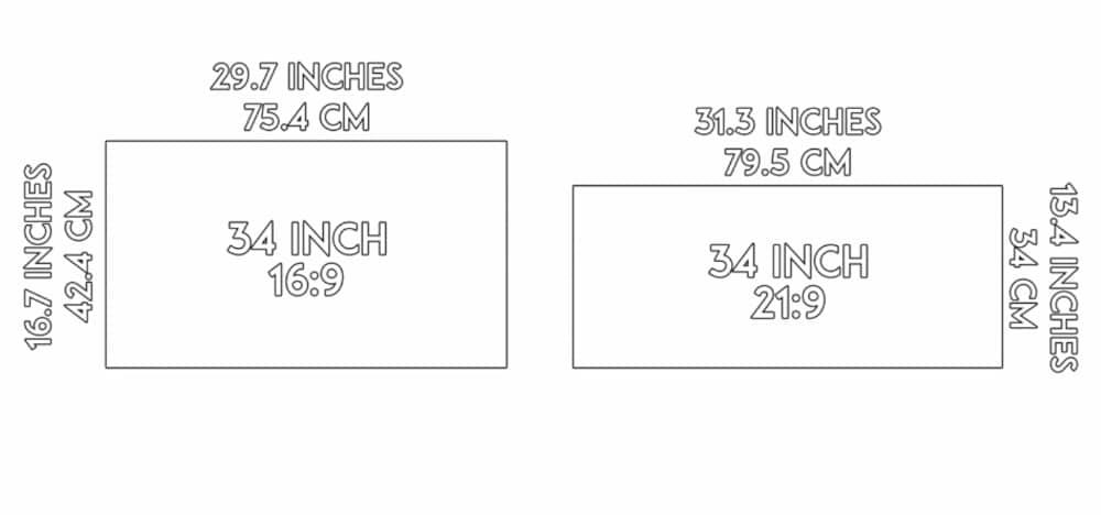 comparaison de taille entre un écran 34 pouces 16:9 et un 34 pouces 21:9