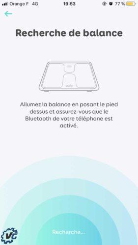 Smart Scale : recherche Bluetooth pour appareillage