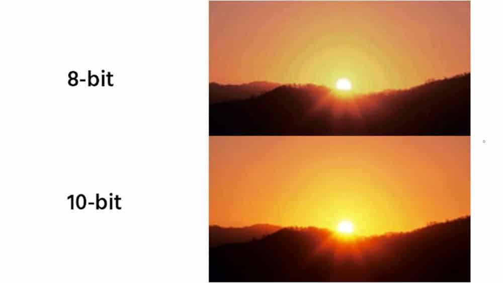 photographie d'un couché de soleil en 8 et 10 bits