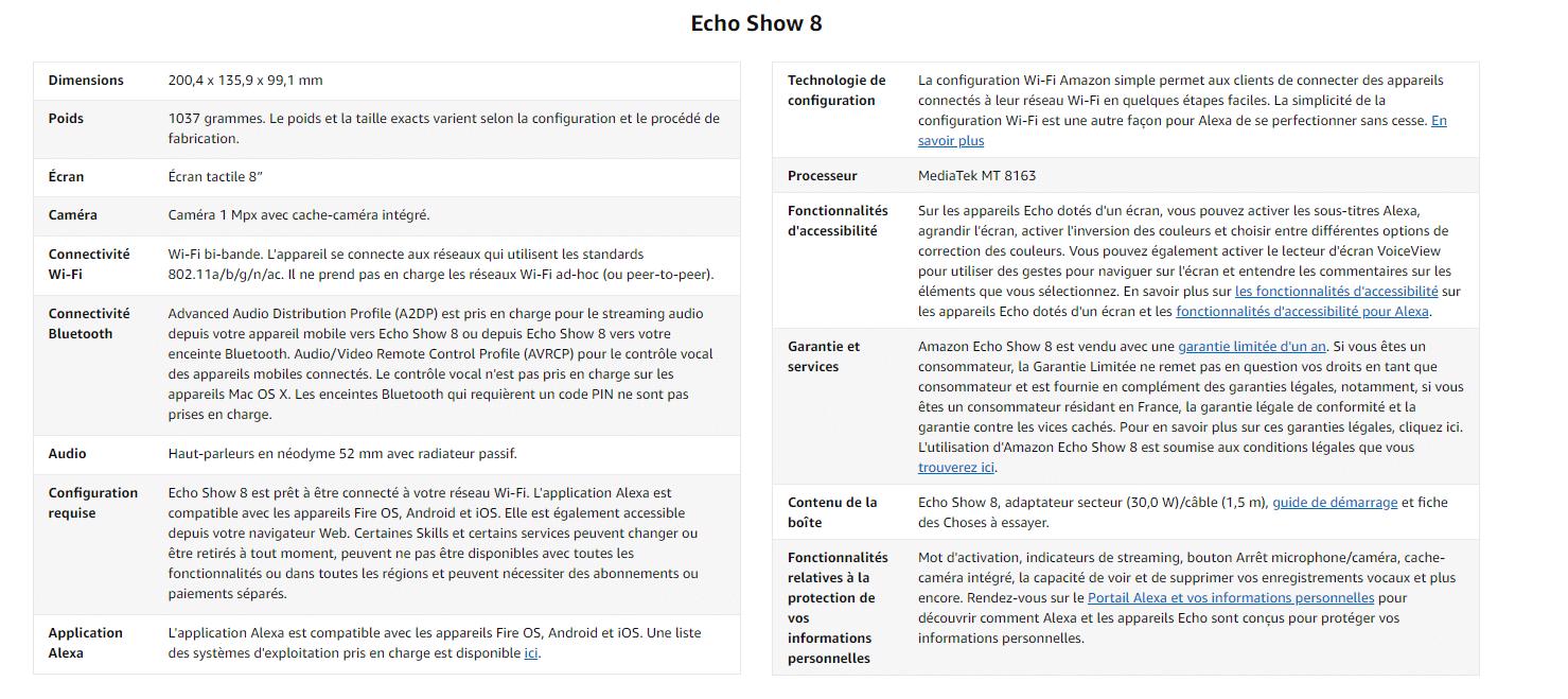 Echo Show 8 Caractéristiques techniques