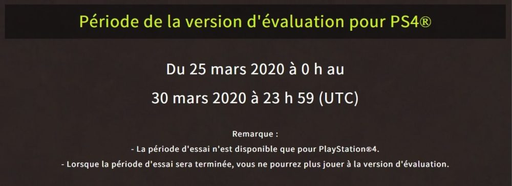 Monster Hunter World présentation de l'offre de la version d'évaluation gratuite