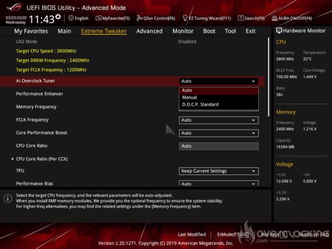 Bios Asus C8I réglage XMP DOCP