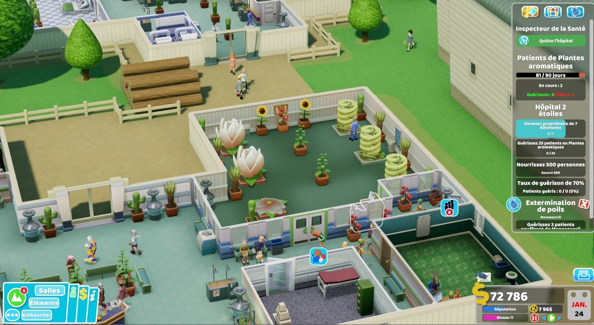 Test Two Point Hospital : Off the Grid image de la nouvelle salle commune