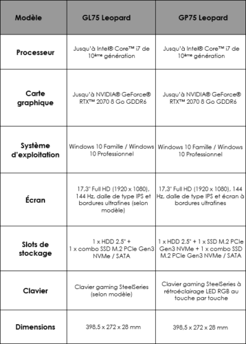 Caractéristiques MSI GL75/GP75 Leopard