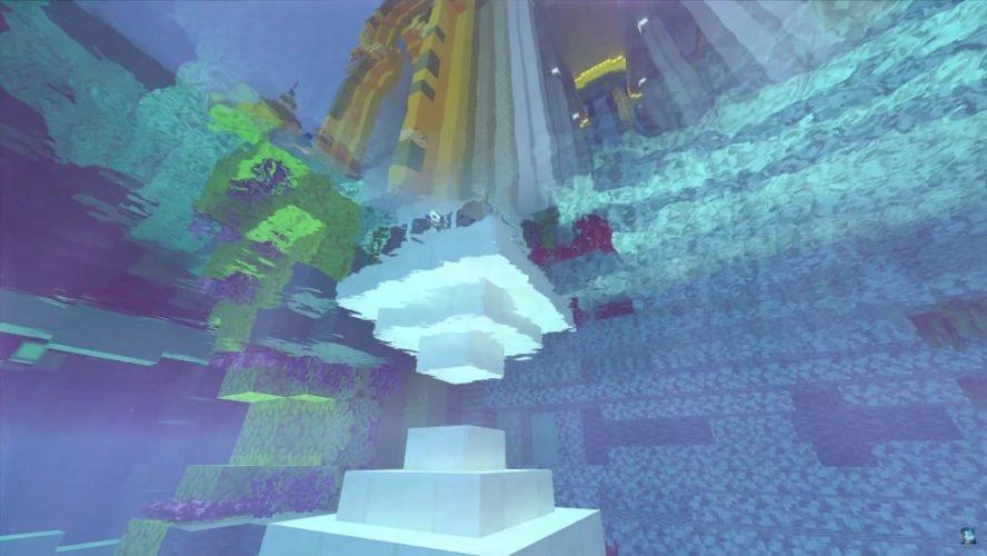 Un reflet vu depuis sous la surface de l'eau dans Minecraft RTX