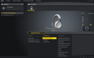 Parametres de retroeclairage du logiciel icue de corsair pour le casque virtuoso wireless