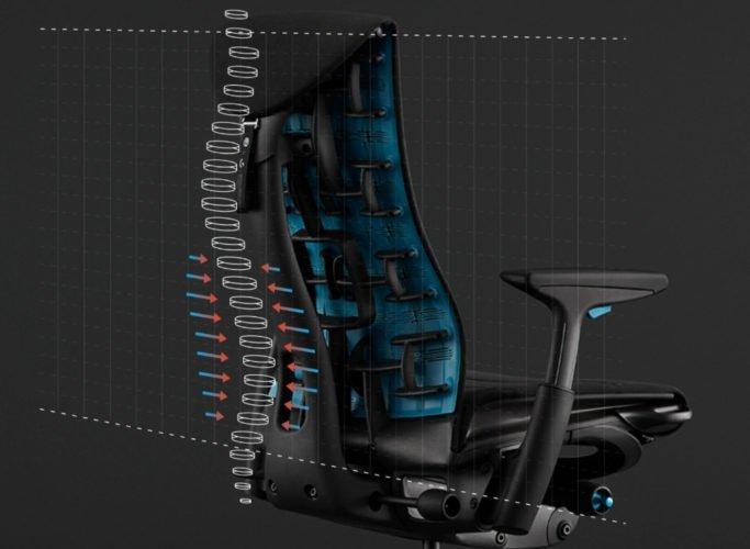 Soutient des vertèbres sur la chaise LogitechG x Herman Miller