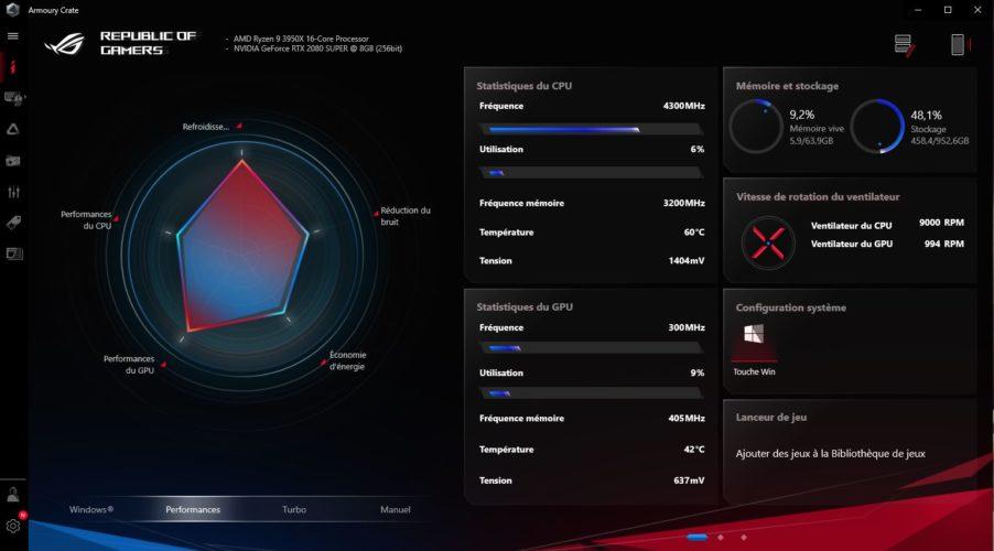 Asus ROG STRIX GA 35 logiciel