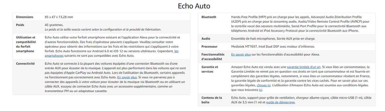 Caractéristiques technique Auto Echo