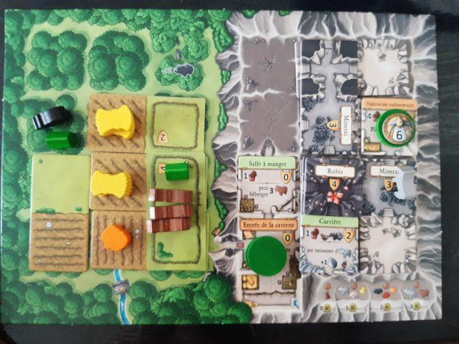 Exemple d'un plateau de jeu Habitat dans Caverna