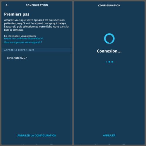Echo Auto configuration en cours