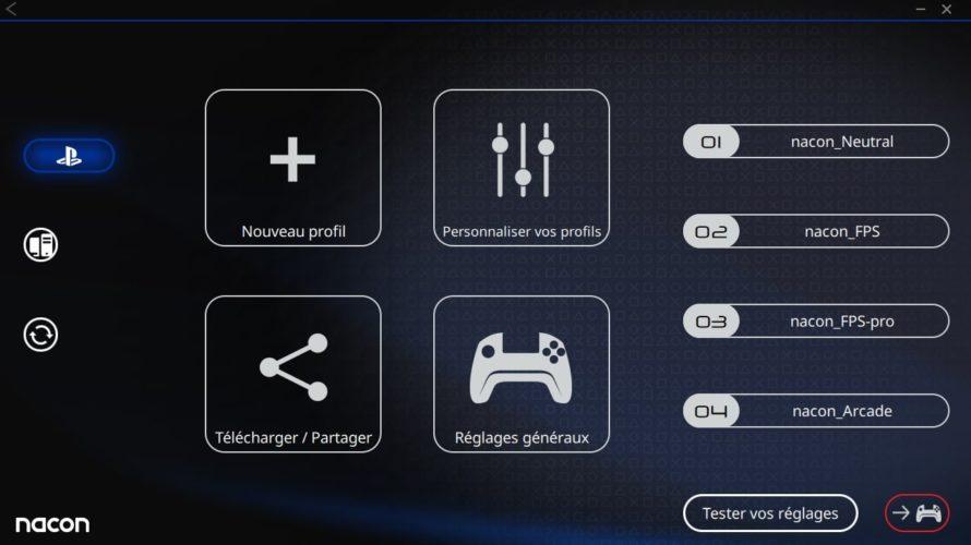 Test Nacon Pro Controller 3 - Logiciel 3