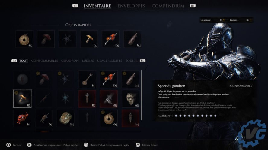 Test Mortal Shell - Inventaire