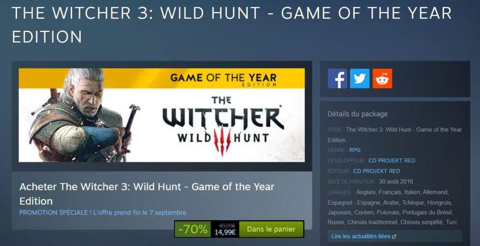 The Witcher 3 - promotion sur steam