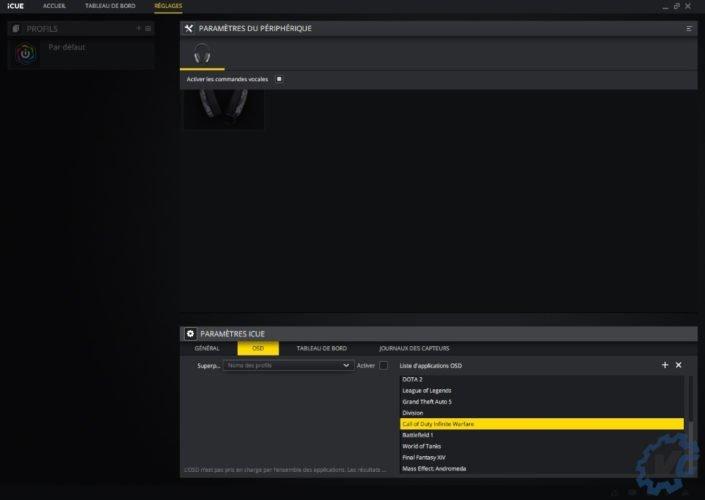 Test casque HS60 Surround Haptic Corsair - paramètres OSD du logiciel