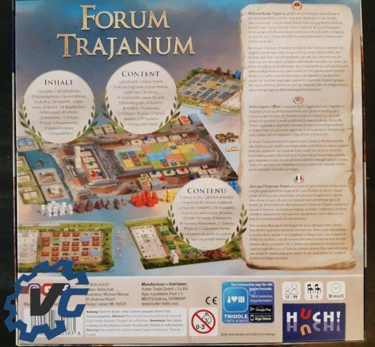 Test Forum Trajanum - Présentation de la face arrière de la boîte