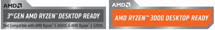 Exemples de sticker indiquant la compatibilité Ryzen