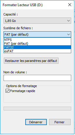 Formater sa clé USB en FAT32