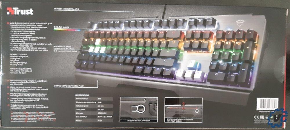 Test clavier Trust Gaming Scarr GXT 877 - boîte arrière