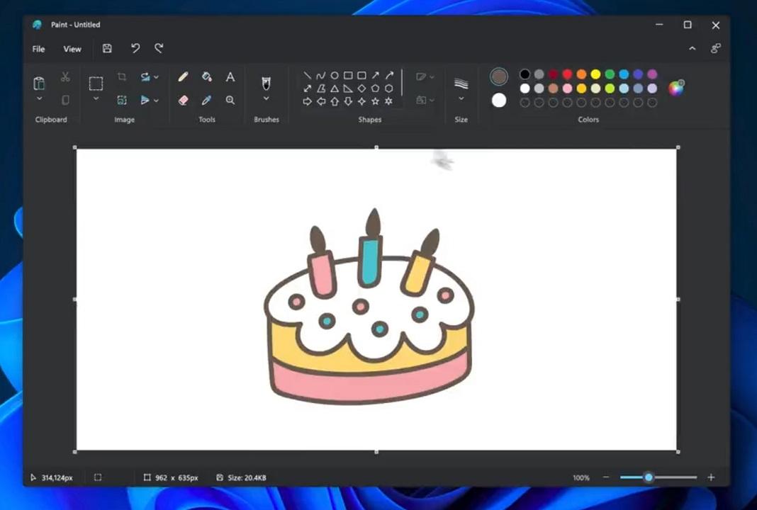 Paint mode sombre sur Windows 11